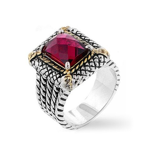 Two-Toned Antique Inspired Pink Cubic Zirconia Ring