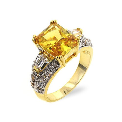 Kate Bissett Gold-Tone Yellow Radiant-Cut Cubic Zirconia Cocktail Ring