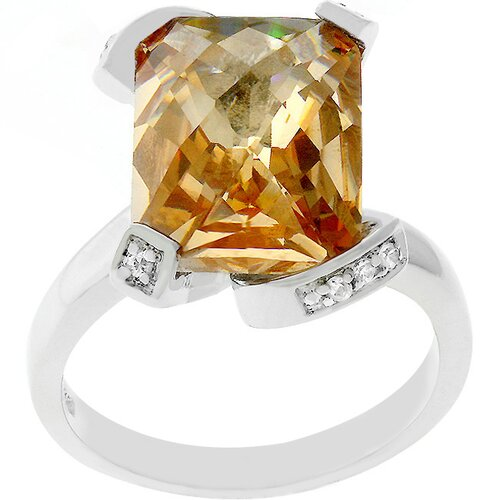 Silver-Tone Emerald Cut Champagne Cubic Zirconia Engagement Ring