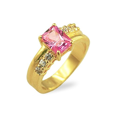Kate Bissett Gold-Tone Pink Radiant Cubic Zirconia Cocktail Ring