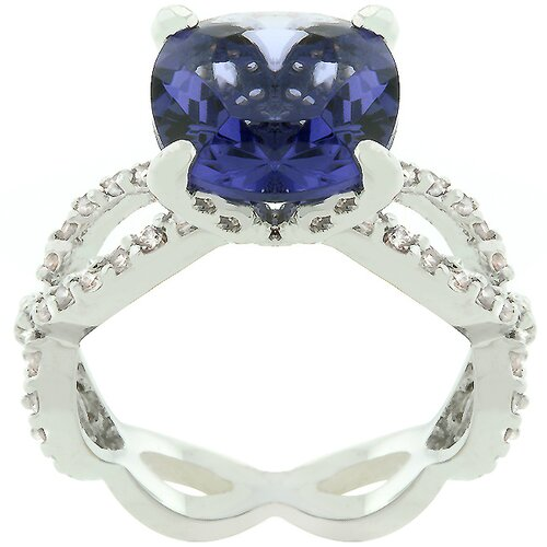 """Kate Bissett Purple and White Cubic Zirconia """"Uptown Classic"""" Ring"""