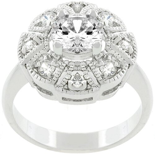 White Gold Bonded Metal Queen Mary Cubic Zirconia Ring