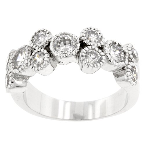 Silver-Tone Clear Cubic Zirconia Contemporary Fashion Band