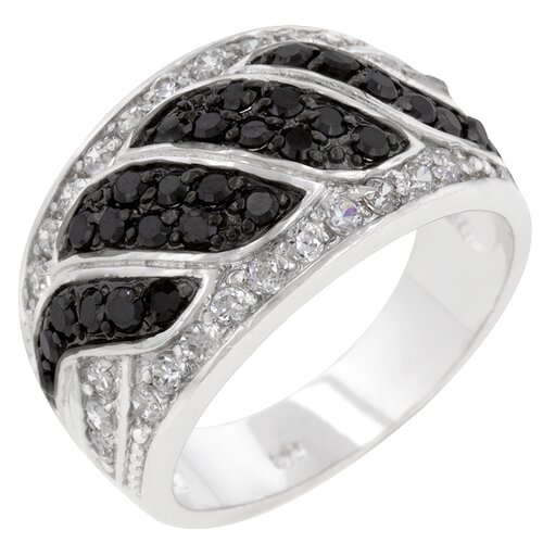 Kate Bissett Imitation Onyx and Clear Cubic Zirconia Black / White Ring
