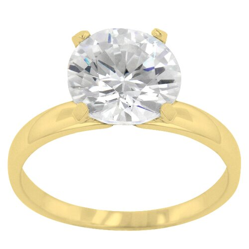 Round Cut Clear Cubic Zirconia Petite Gold Solitaire Ring