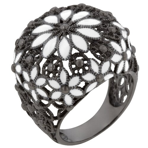 Kate Bissett White Enamel Design Victorian Gun Metal Ring