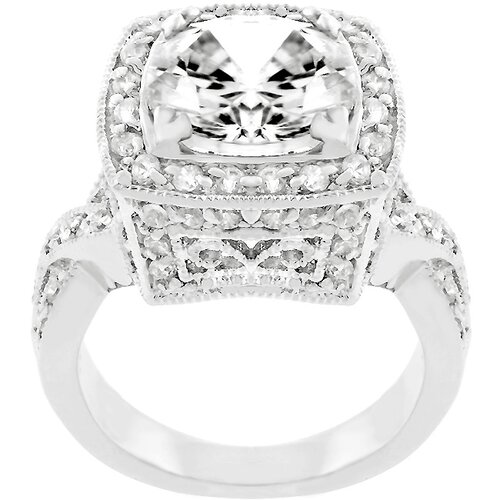 Kate Bissett White Gold Rhodium Bonded Cubic Zirconia Bright Lights Cocktail Ring
