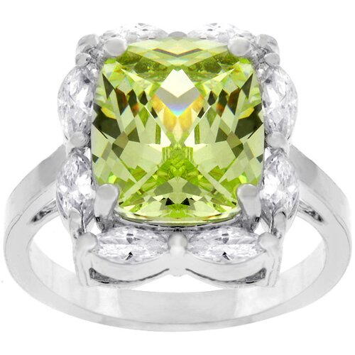 Kate Bissett Silver-Tone Large Green Cubic Zirconia Ring