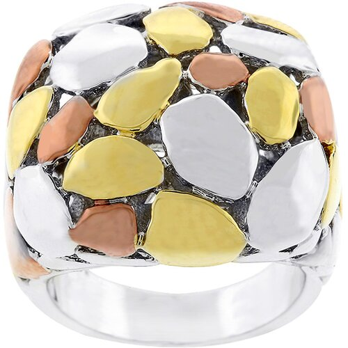 Tri Color Cluster Style Fashion Ring