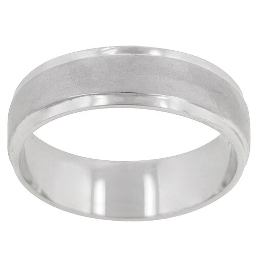 Silver Brushed Finish Classic Mens Eternity Ring
