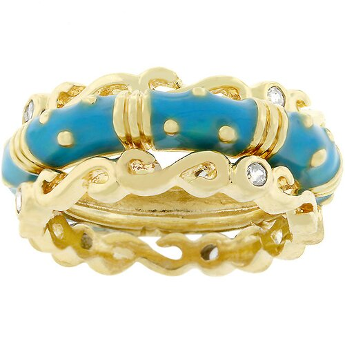 Gold-Tone Stackable Aqua Enamel and Cubic Zirconia Ring