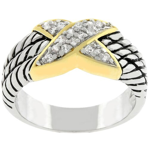 "Kate Bissett Gold-Plated ""X"" Cubic Zirconia Rope Ring"