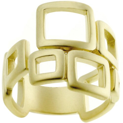 Gold-Tone Matted Square Fashion Ring
