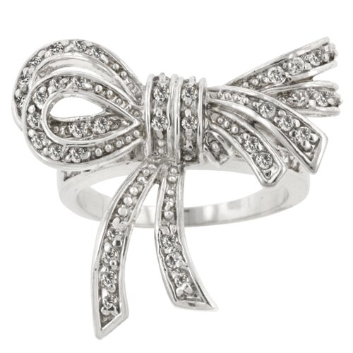 Clear Cubic Zirconia Shoelace Ribbon Ring
