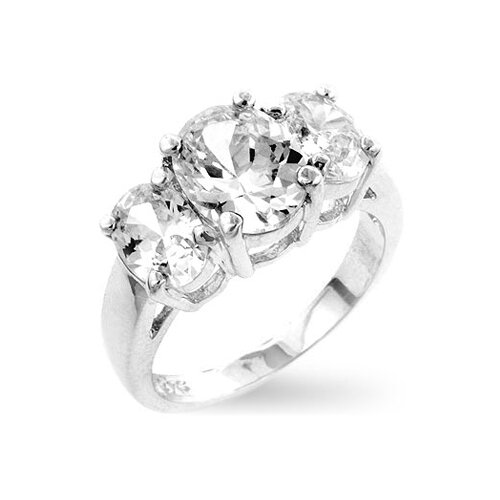 Sterling Silver Clear Cubic Zirconia Triplet Ring