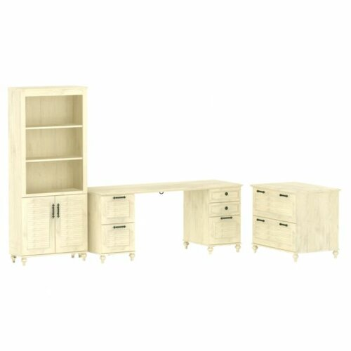kathy ireland Office by Bush Volcano Dusk Home Double Pedestal 2-Drawer Standard Desk Office Suite