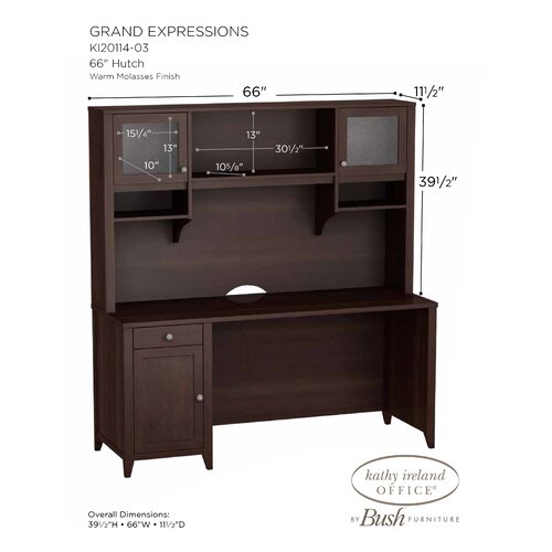 "kathy ireland Office by Bush Grand Expressions 66"" Hutch with Overhead Storage in Warm Molasses Finish"