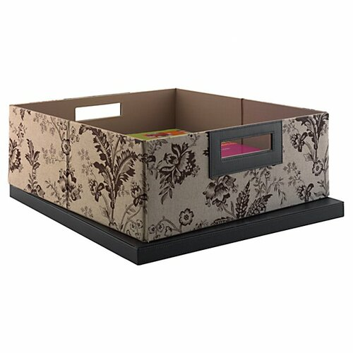 kathy ireland Office by Bush Grand Expressions Media Storage Bin in Neutral & Chocolate Floral Print
