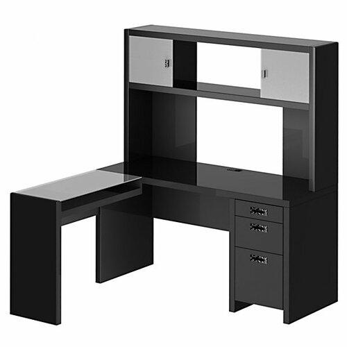 kathy ireland Office by Bush New York Skyline L-Shape Computer Desk with Hutch