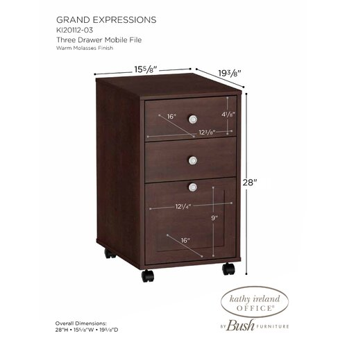 kathy ireland Office by Bush Grand Expressions 3-Drawer Mobile File