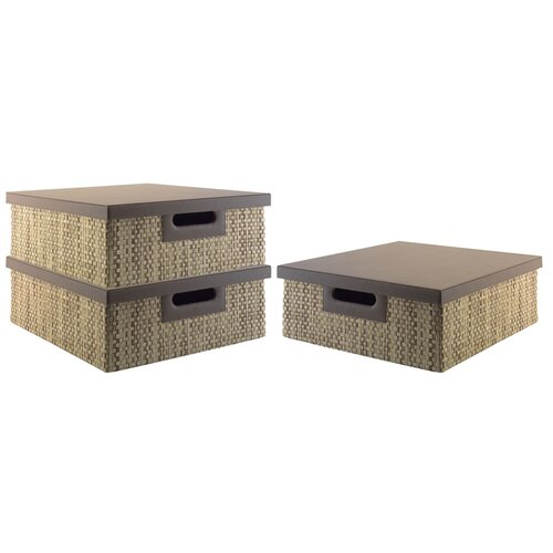 kathy ireland Office by Bush Volcano Dusk media storage bin collection (3 bins) with Natural Grass Weave Pattern