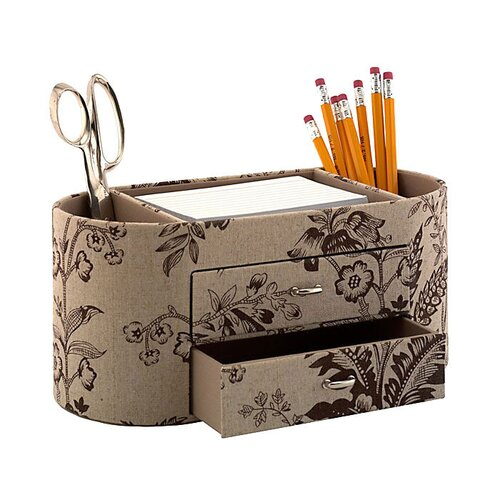 kathy ireland Office by Bush Grand Expressions Desktop Organizer in Neutral & Chocolate Floral Print