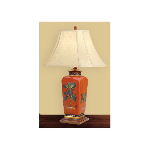"JB Hirsch Home Decor Tropical 27"" H Table Lamp with Bell Shade"