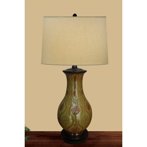 JB Hirsch Home Decor Spring Swirl Table Lamp with Drum Shade