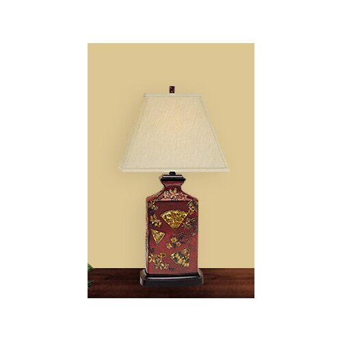 "JB Hirsch Home Decor Fan Art 22"" H Table Lamp with Empire Shade"