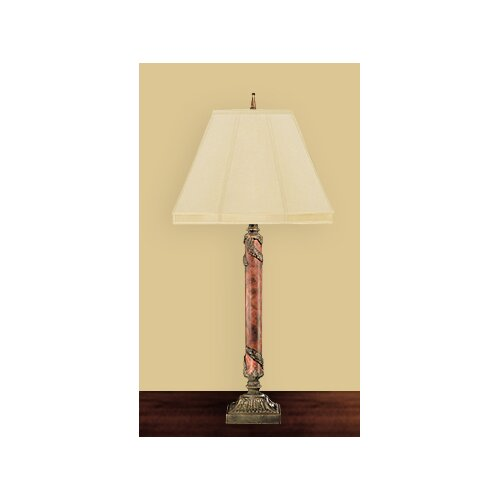 """JB Hirsch Home Decor Burl Acanthus Column 38"""" H Table Lamp with Empire Shade"""