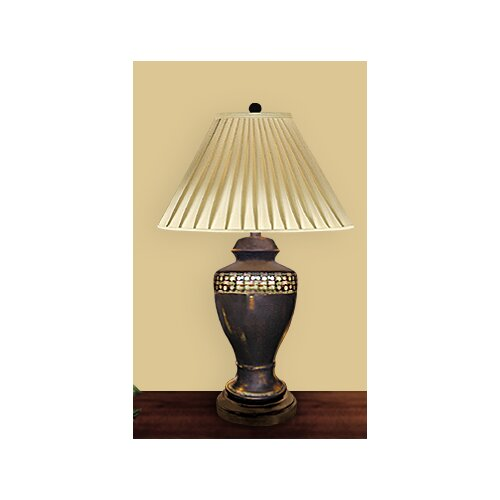 "JB Hirsch Home Decor Egg Shell Trim on Onyx 30"" H Table Lamp with Empire Shade"