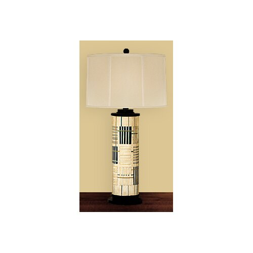 JB Hirsch Home Decor Holmes Abstract Wooden Column Table Lamp