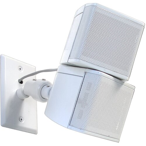 Pinpoint Mounts Universal Speaker Wall Ceiling Mount with Electrical Box Installation Adapter Plate in White