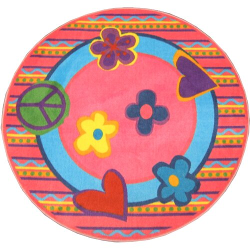 Fun Rugs Fun Shape High Pile Peace Kids Rug