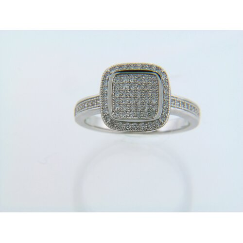 Micro Pave Cubic Zirconia Ridged Rounded Square Ring