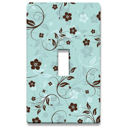 Floral: Mint and Chocolate Decorative Light Switch Cover - Single Toogle Switch