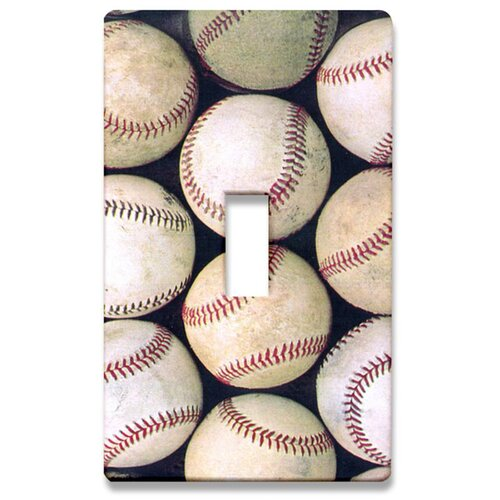 HomePlates Worldwide Group of Baseballs Decorative Light Switch Cover - Single Toogle Switch