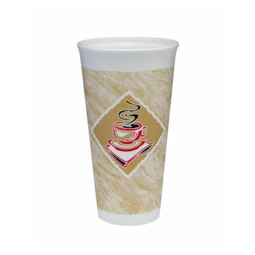DART® 20 Oz Café G Design Foam Hot / Cold Cups in White / Brown with Red Accents
