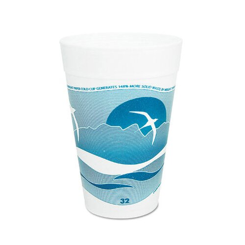 DART® 32 Oz Printed Horizon Foam Hot / Cold Cup 25 / Bag in Aqua / White