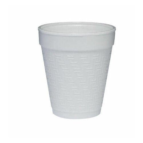 DART® 8 oz Small Foam Drink Cup Hot/Cold 25/Bag in White with Embossed Greek Key Design