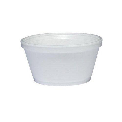 DART® 8 oz Insulated Squat Foam Food Bowl 50/Bag in White