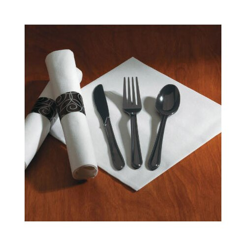 HOFFMASTER® Heavyweight Fork/Knife/Spoon Utensil Set in Black (100 packs per carton)