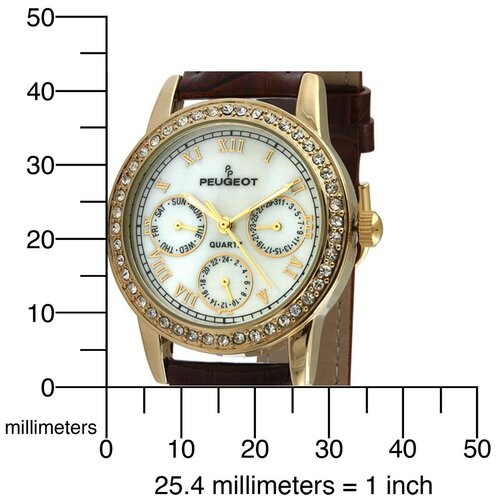 Peugeot Women's Swarovski Elements Multi Function Watch with Brown Leather Strap in Gold Tone