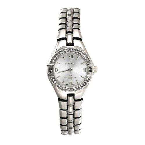 Women's Round Swarovski Watch with Crystal Bracelet in Silver Tone