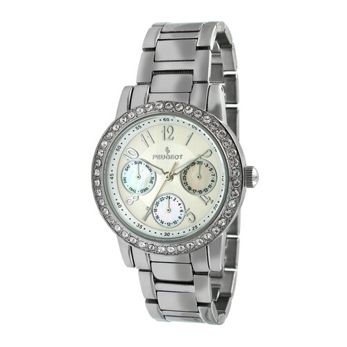 Women's Multi Function Swarovski Watch with Crystal Bracelet in Silver