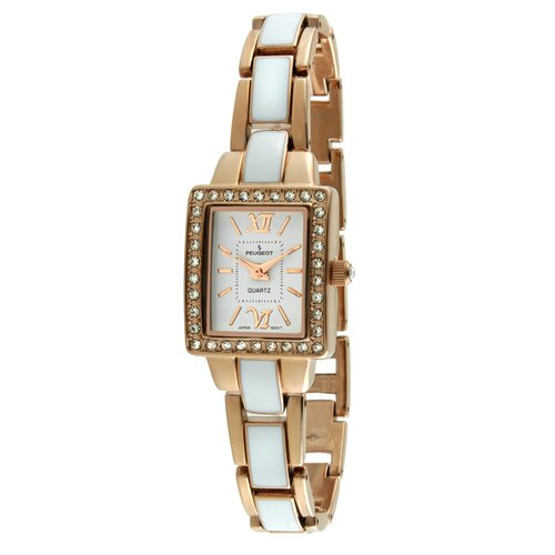 Peugeot Women's Square Link Bracelet Watch in Rose Gold and White Enamel