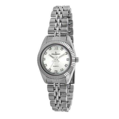 Women's Crystal Marker Ribbed Bezel Bracelet Watch in Silver Tone