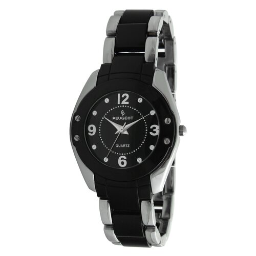 Women''s Round Silver-Tone Acrylic Link Watch