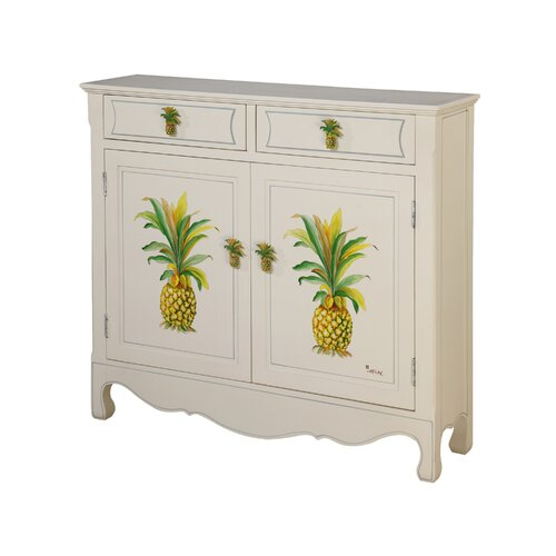 Gail's Accents Shoreline Betsy Drake Pineapple 2 Drawer Cupboard