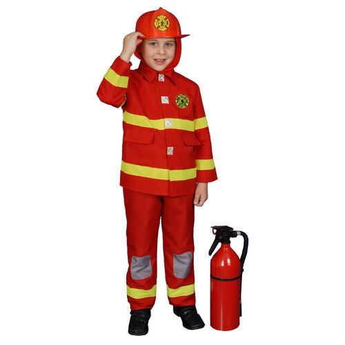 Dress Up America Boy Fire Fighter Children's Costume in Red